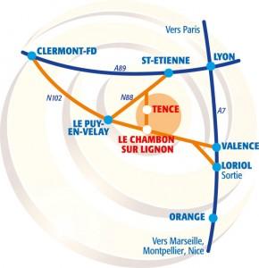 Carte axes routiers Haut-Lignon